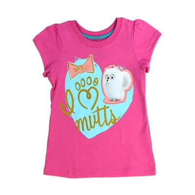 "The Secret Life of Pets Girls T-Shirt Pink ""I Heart Mutts"" Sizes: 2T-4T"