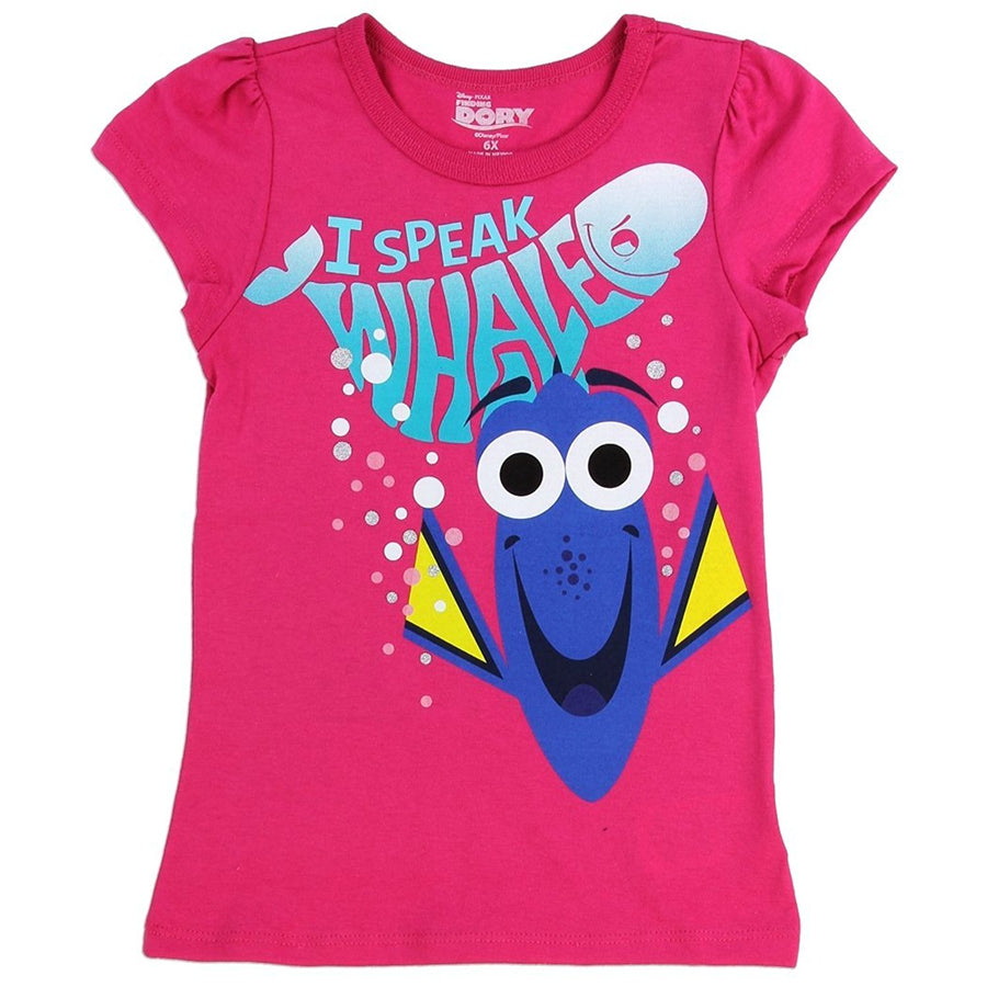 "Disney Pixar Finding Dory Girls' ""I Speak Whale"" T-Shirt (3T, Fuchsia)"