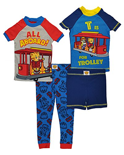 "Daniel Tiger Toddler Boys' ""All Aboard!"" 4-Piece Cotton Pajama Set, Blue, Sizes 2T-4T"