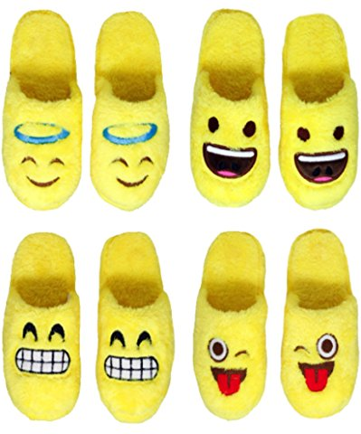 M P/&W Boys//Girls Emoticon Plush Slippers Assorted Appliques in Yellow Sizes S L /& XL