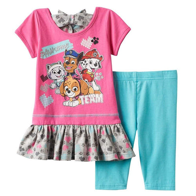 PAW PATROL Girls Toddler 2 Piece Dress Top & Capri Legging Set