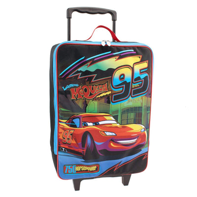 Disney Cars Lightening McQueen Neon Rolling Pilot Suitcase, Black/Multi