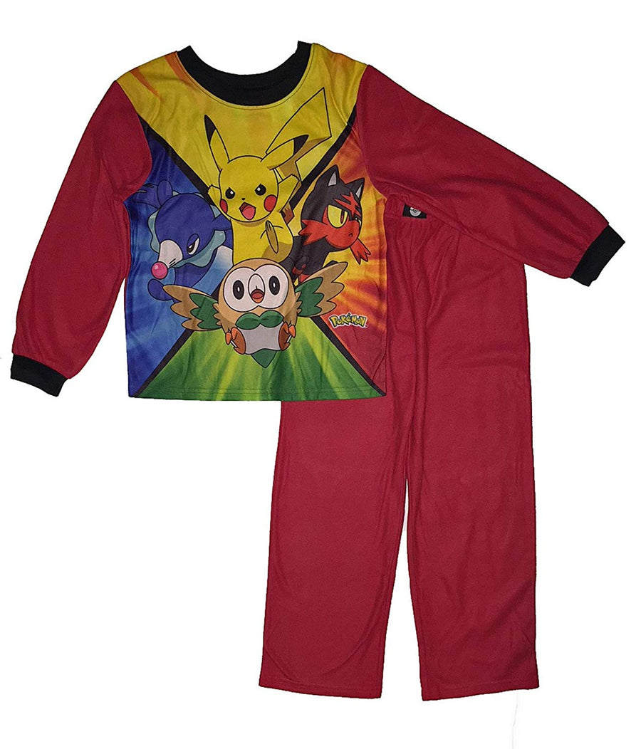 Pokemon Big Boys Flannel Sleepwear Set, Size 10/12, Red