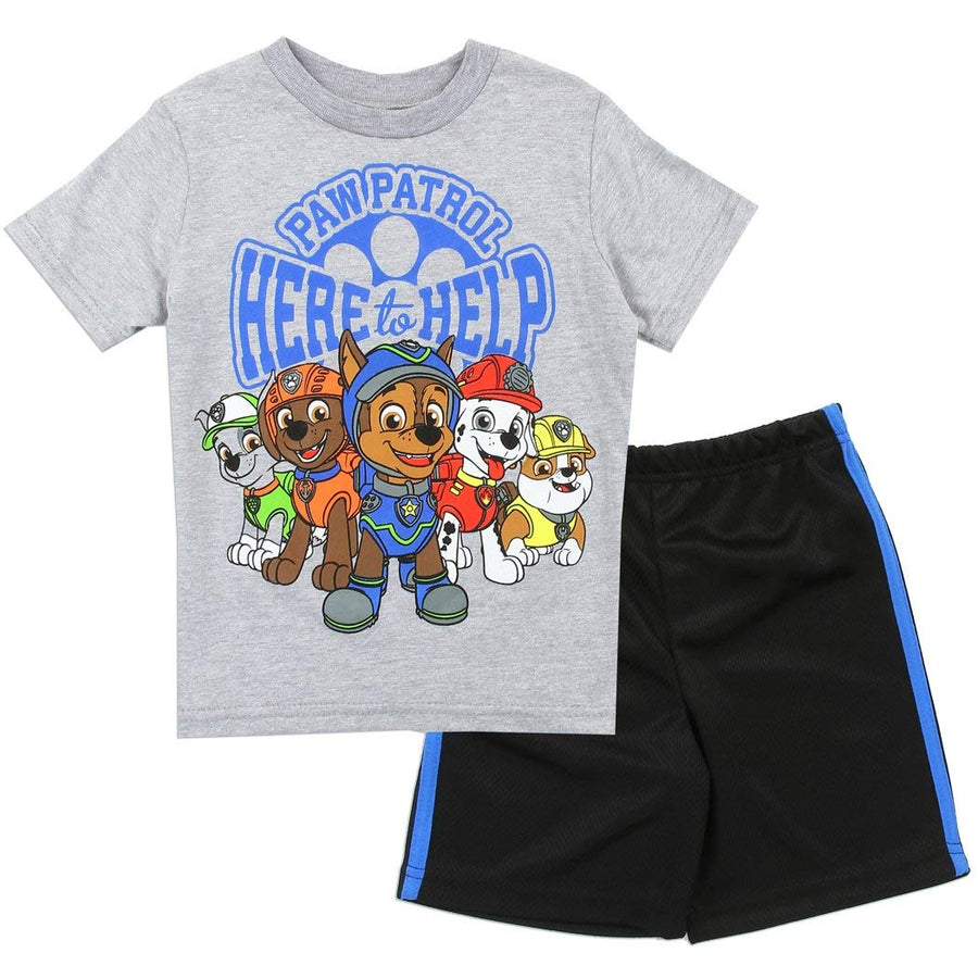 Paw Patrol Toddler Boys' 2-Piece Tee & Short Set, Sizes 2T-4T, Blue/Black, Gray/Black
