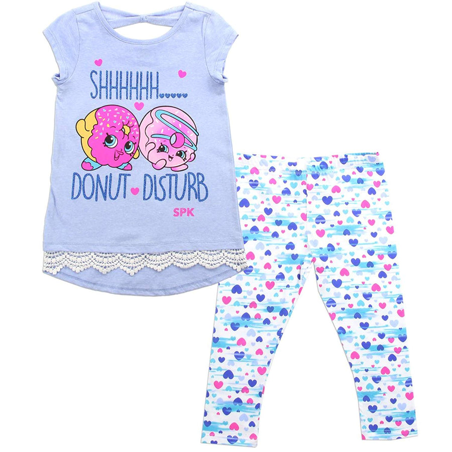 SHOPKINS Girls' 2 Piece Cap Sleeve Top & Legging Clothing Set Sizes: 4-6X In Blue/Multi Print