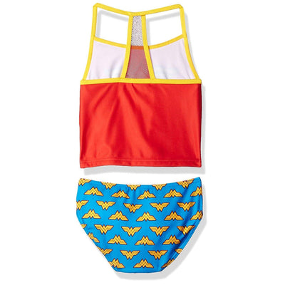 Warner Bros. Wonder Woman Girls Swimwear Tankini Swimsuit, Red/Blue