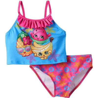 SHOPKINS GIRLS' TANKINI SWIMSUIT & Shopkins Girls Pink Love Baseball Cap BUNDLE In Pink/Blue