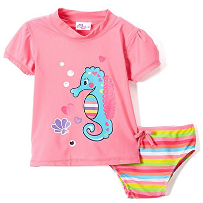 Toddler Girls' Rashguard and Bikini Bottoms 2-Piece Set, Colors: Pink, Bubblegum Pink, Coral & Turquoise