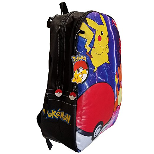 "Pokémon Unisex 17"" Backpack Charizard, Pikachu, Pokeball"