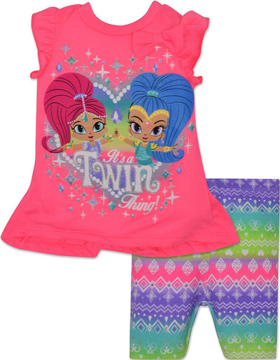 Nickelodeon Girls' Shimmer and Shine Tunic and Shorts Set, Pink