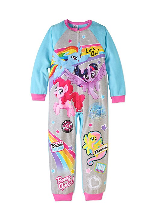 AME My Little Pony Movie Girls' One-Piece Fleece Sleeper Pajama Onesie Size 6/6X