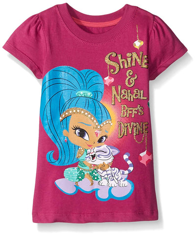 Nickelodeon Shimmer and Shine Toddler Girls' Short Sleeve T-Shirt, Purple, Green, and Pink, Sizes 2T-4T