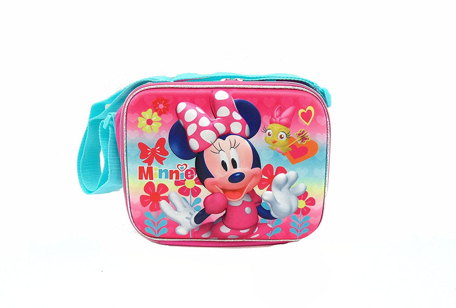 Disney Minnie Mouse Deluxe 3D Reusable Lunch Bag With Adjustable Long Shoulder Strap