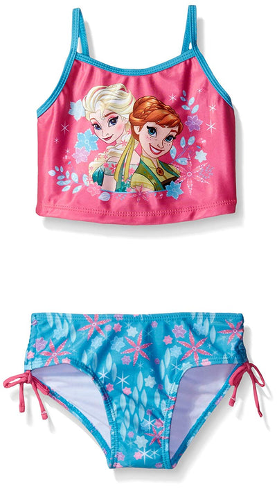 Disney Toddler Girls' Frozen Fever Swimsuit Tankini, Blue/Pink, Size 2T