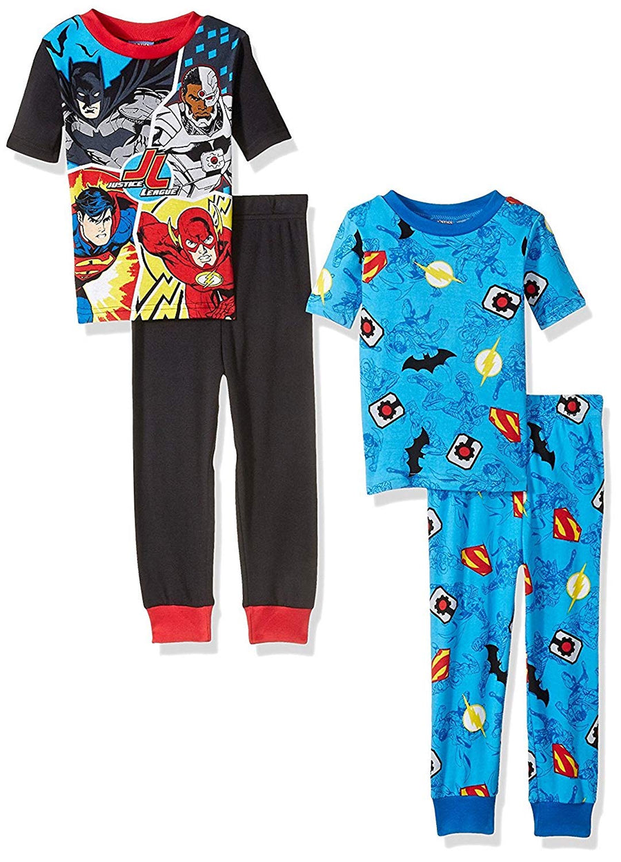 Justice League Boys' 4-Piece 100% Cotton DC Comics Batman Superman Pajama Set