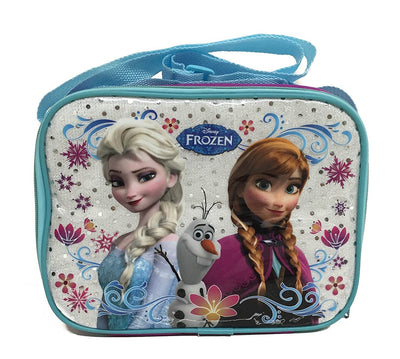 Disney Frozen Blue Lunch Bag with Strap Features Elsa Anna Olaf