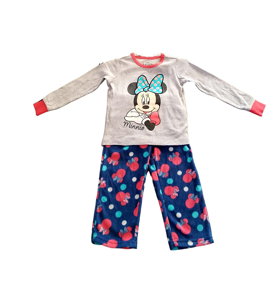 Disney Minnie Mouse Toddler Girls Cotton Top Fleece Pants Pajama Set