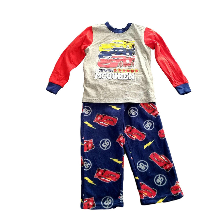 Disney Cars Toddler Big Boys' Cotton Top & Fleece Pants Pajamas Set