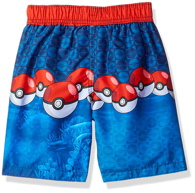 Dreamwave Big Little Boys' Pokemon Swim Trunk, Sizes 4, 5/6, 7, Red/Blue