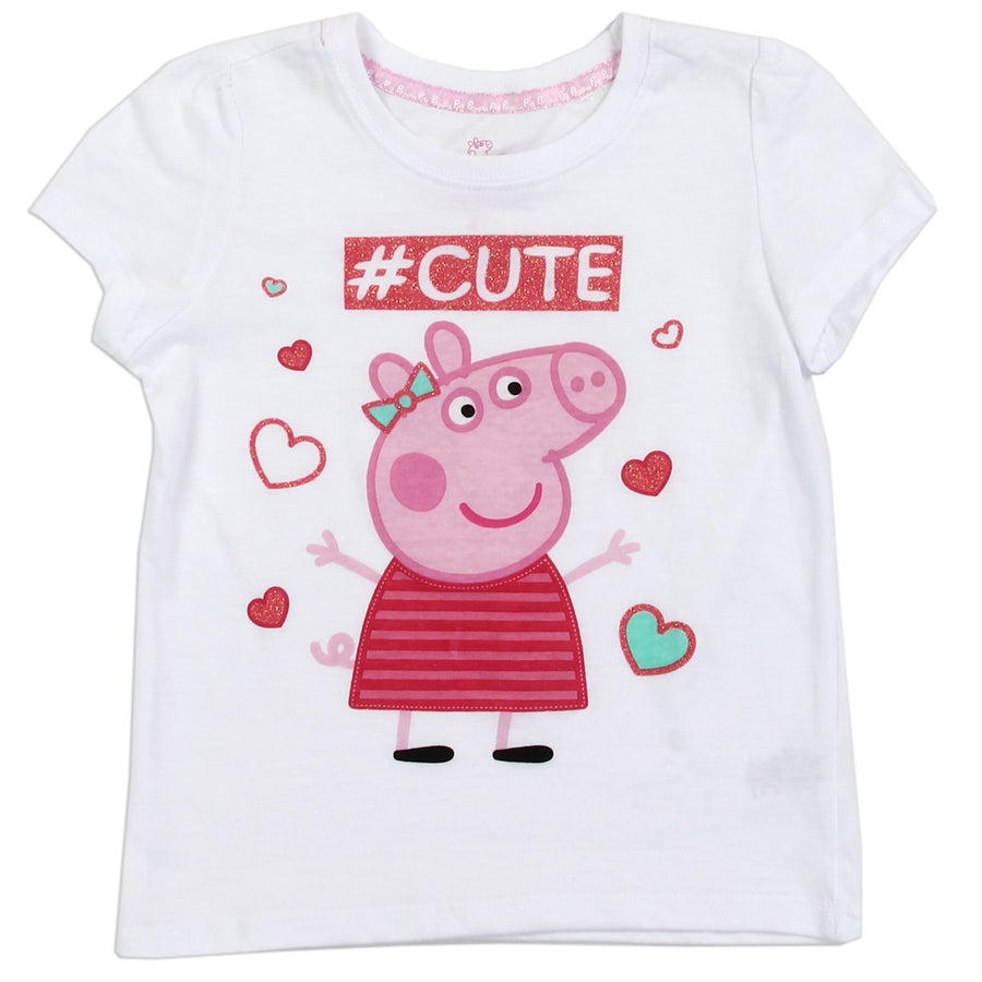 Peppa Pig Toddler Girls Short Sleeve T-shirt sizes 2T-4T White