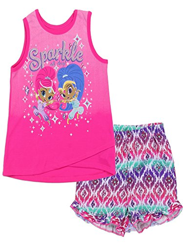 Shimmer and Shine Big Little Girls' 2PC Top and Short Set, Bright Pink, Sizes 4-6X