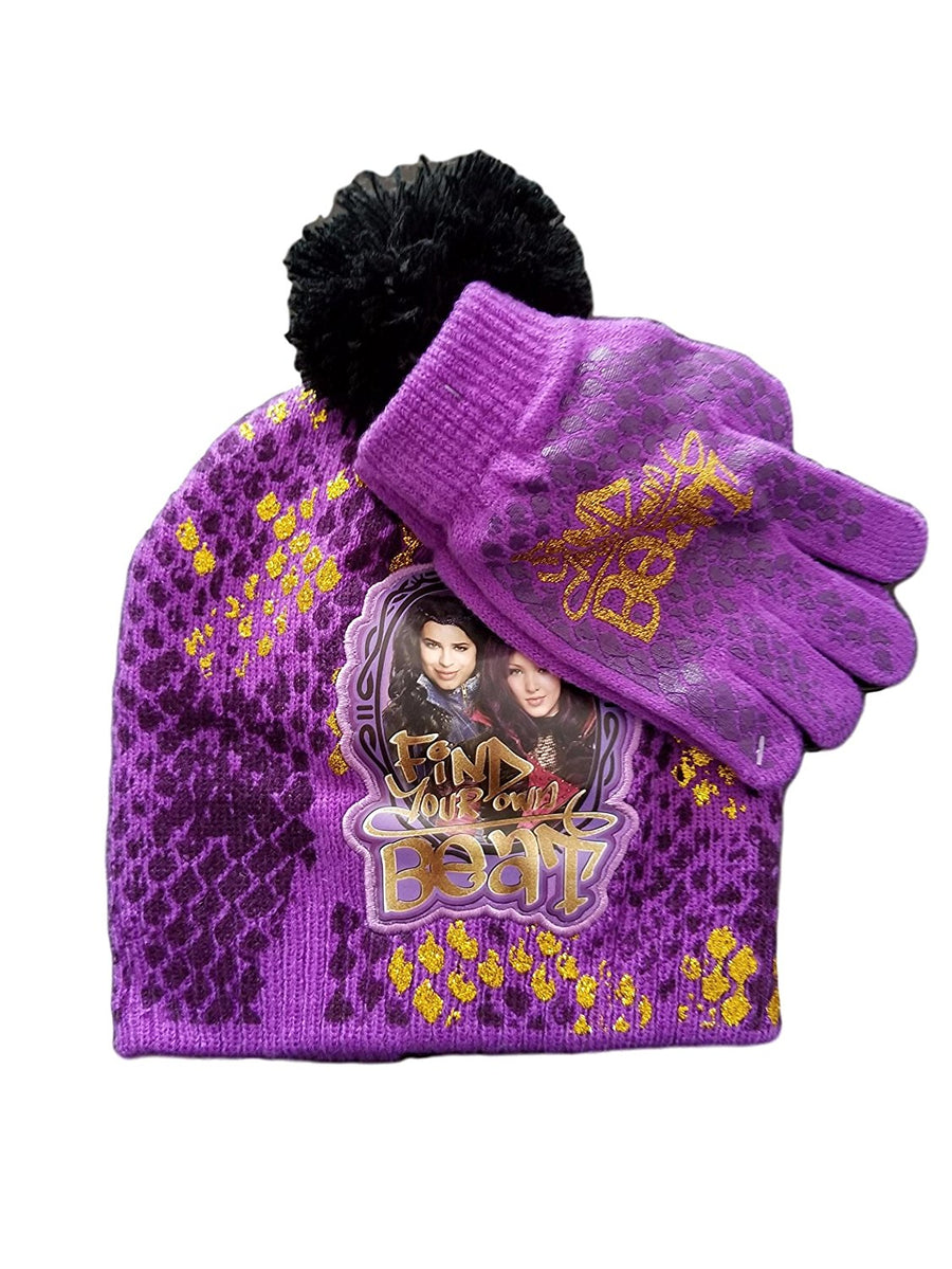 Disney Descendants Beanie/Knit Hat & Glove Set, Purple