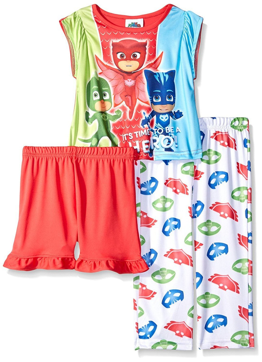 AME PJ Masks Toddler Girl 3-Piece Pajama Set, Size 2T, Red/Green
