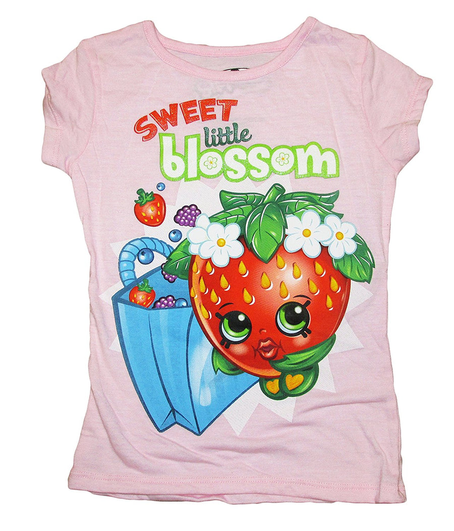 Shopkins Little Girls T-Shirt Strawberry Kiss, Size: 4 and 5/6, Dark Pink