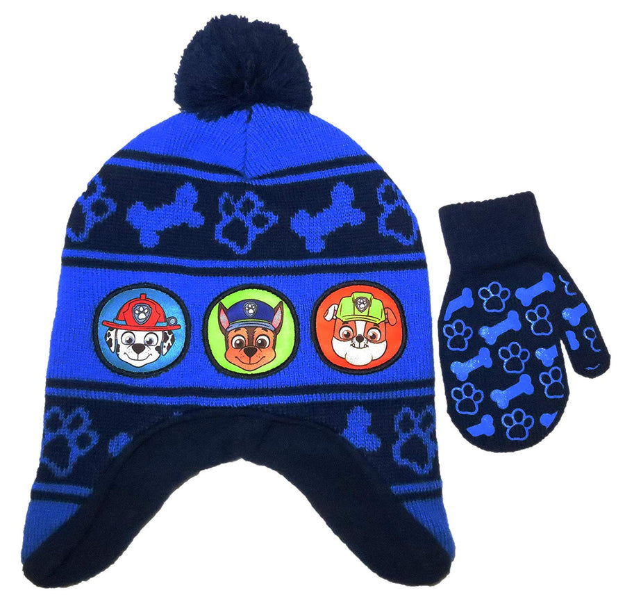 Nickelodeon PAW Patrol Toddler Girls or Boys Knit Hat and Mitten Set, Pink or Blue