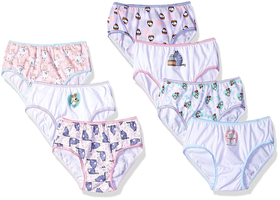 Universal The Secret Life Of Pets Girls' Briefs 7pk, Assorted Prints & Colors, Cotton