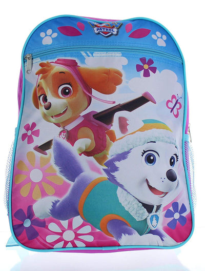 "Nickelodeon Paw Patrol Girls 15"" School Backpack Skye and Everest, Pink/Blue"