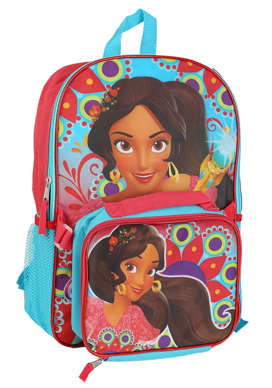 Disney Elena of Avalor Backpack w/ Detachable Lunch Box and Bonus Jumbo Coloring Activity Book - Multi Value Bundle