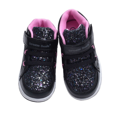 Girls' Toddler Glitter High Top Sneaker Shoe - Lace Free Hook n Loop Closure - Two Colors Blush and Black/Pink - Toddler Sizes 5, 6, 7, 8, 9 and 10