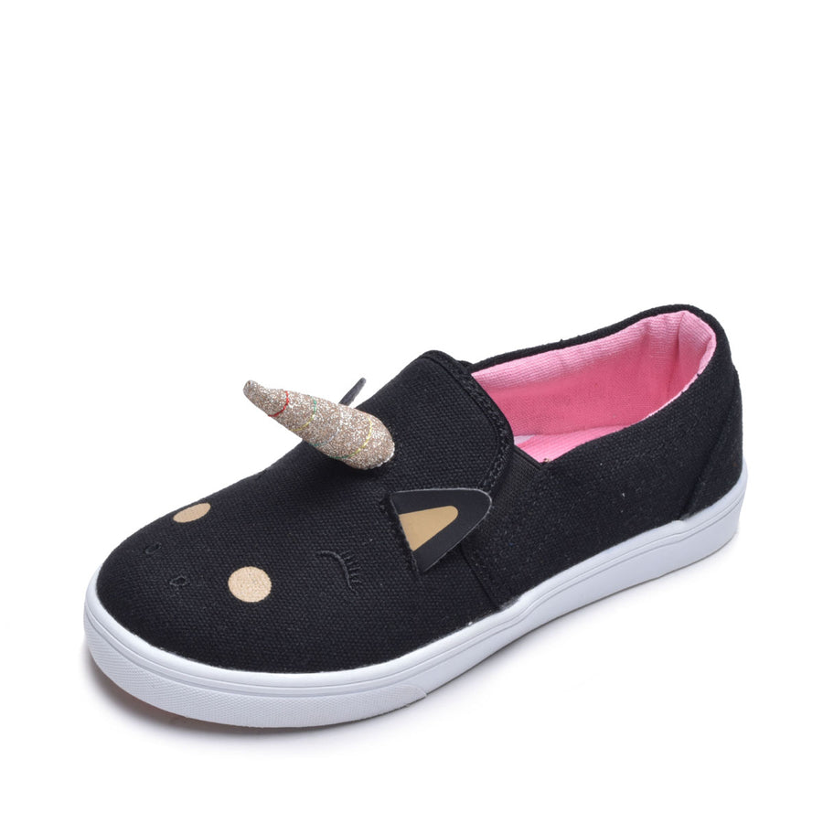 Girls Sneaker Toddler Shoes Slip On Unicorn Canvas Kids Shoes Black & Gold Sizes 5-10