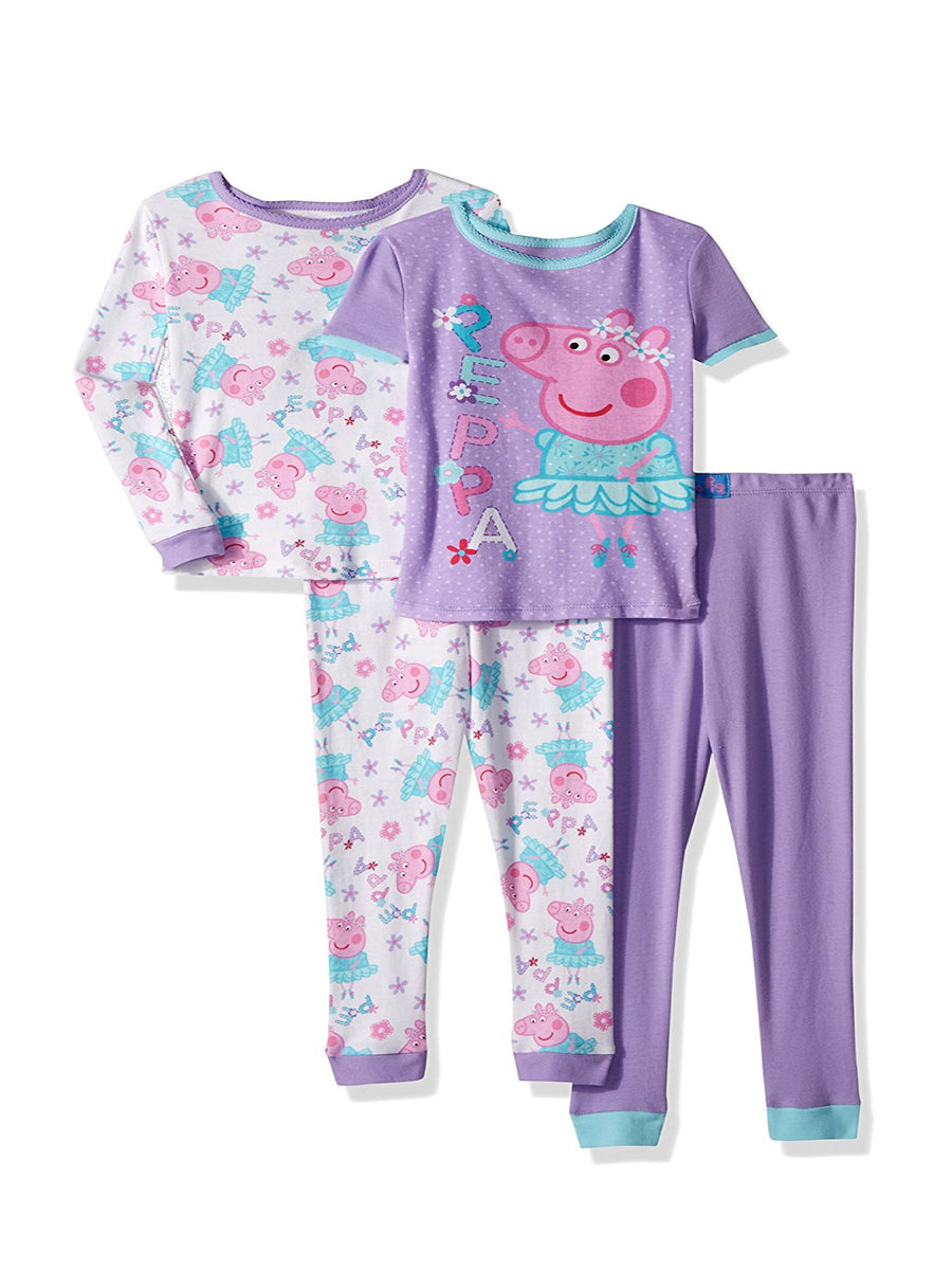 Peppa Pig Toddler Girls' Ballerina 4-Piece Cotton Pajama Set, Purple, Sizes 2T-4T
