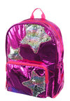 "Girls' 16"" Pink Metallic Foil Backpack w/ Reversible 2-Way Flip Sequin Multicolor Stars School Bag"