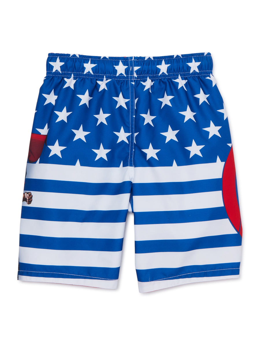 Marvel Avengers Star & Stripes Swim Trunk Little/Big Boys Swimwear - Red/White/Blue - Sizes 4, 5/6 and 7