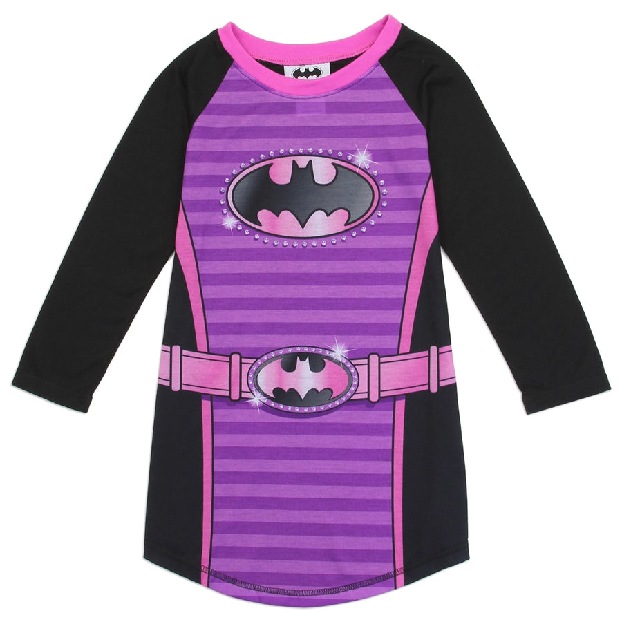AME Sleepwear DC Comics Batgirl Logo Girls' Nightgown, Purple, Sizes 4, 6, 8 & 10