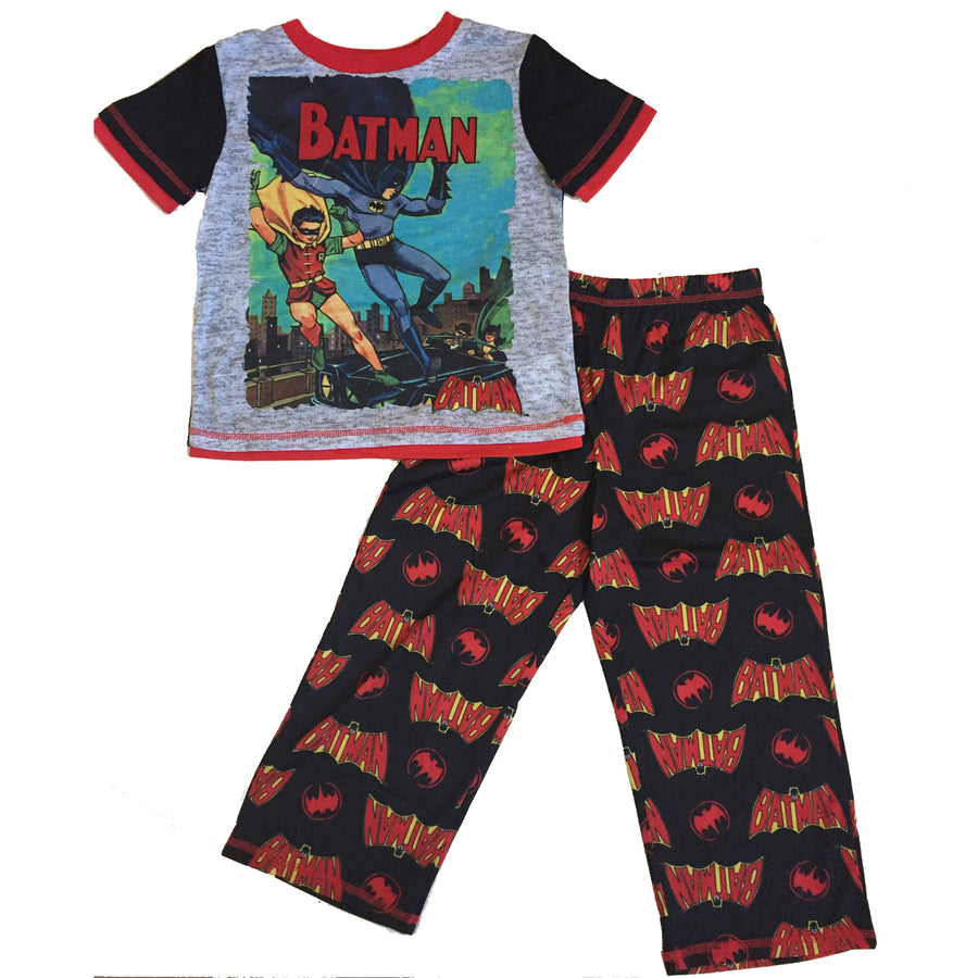 DC Comics Batman Logo Little Big Boys 2-Piece Pajama Set, Blue or Red, XS, S, M, L, XL