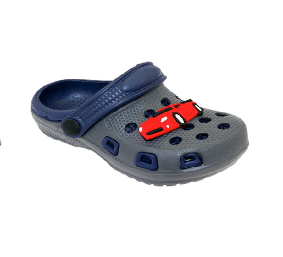 Spring Summer Toddler Boys' Slingback Sandal Clogs With Cute Appliqué Detail For Beach, Pool or Everyday Wear