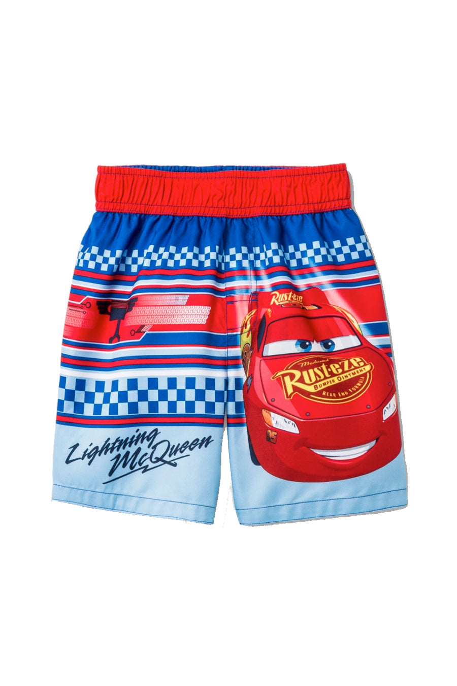 Disney Cars Lightning McQueen Toddler Boys' Swim Trunk - Red/Blue - Sizes 2T, 3T and 4T