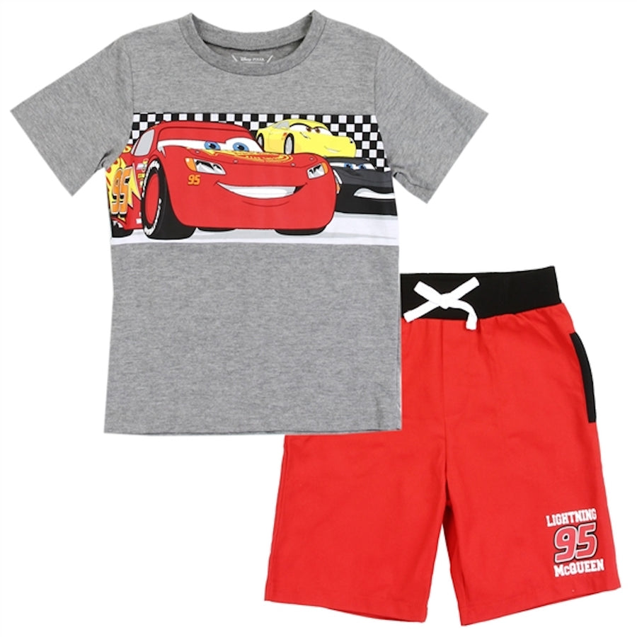 Disney Cars Toddler Boys' Lightning McQueen 2PC Tee & Short Set - Red/Grey - Sizes 3t, 4T & 5T