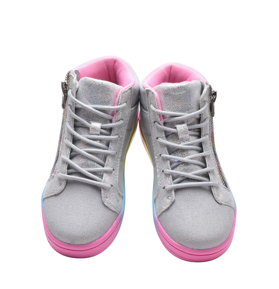 Girls Sneakers High Top Kids Shoes with Side Zipper Gray Rainbow Size 10-4
