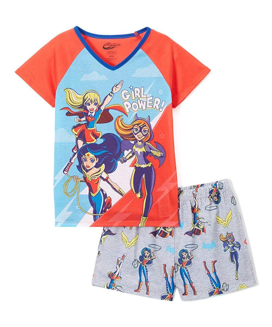 "DC Super Hero Girls' 2-Piece Pajama Set ""Girl Power"" Wonder Woman, Supergirl, Batgirl"