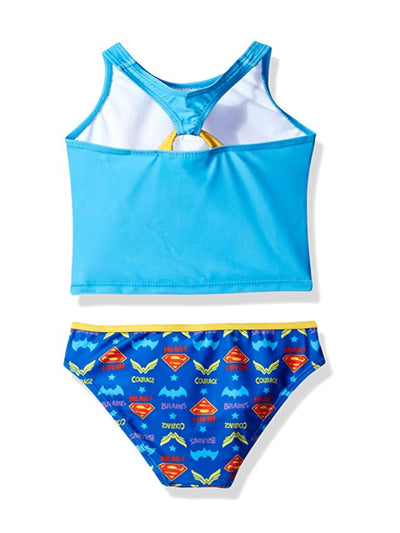 Warner Bros. Little Big Girls' DC Super Hero Swimsuit Bathing suit, Blue 4-6X