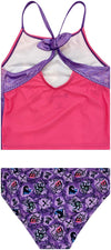 Descendents Two 2PC Tankini Top & Bottom Swimsuit Set - Girls - Purple/Pink - Sizes 5/6, 6X and 7/8