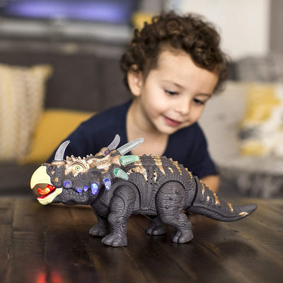 "Dinosaur Toys Light Up Walking Triceratops Figure with Sounds 14"" Kids Toy"
