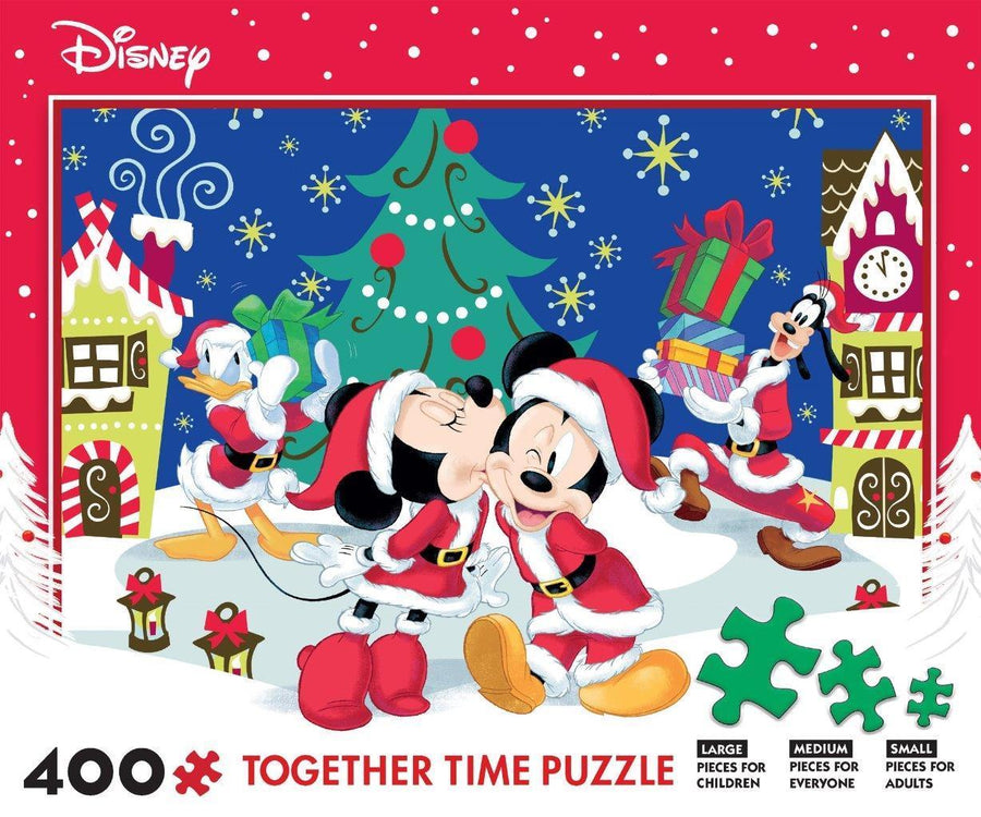 Disney Mickey and Minnie Christmas Holiday Together Time Puzzle, 400 Pieces