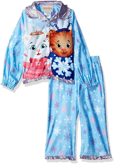 Daniel Tiger Toddler Girls' Holiday Button Down Pajama Set, Blue, Sizes 2T-4T