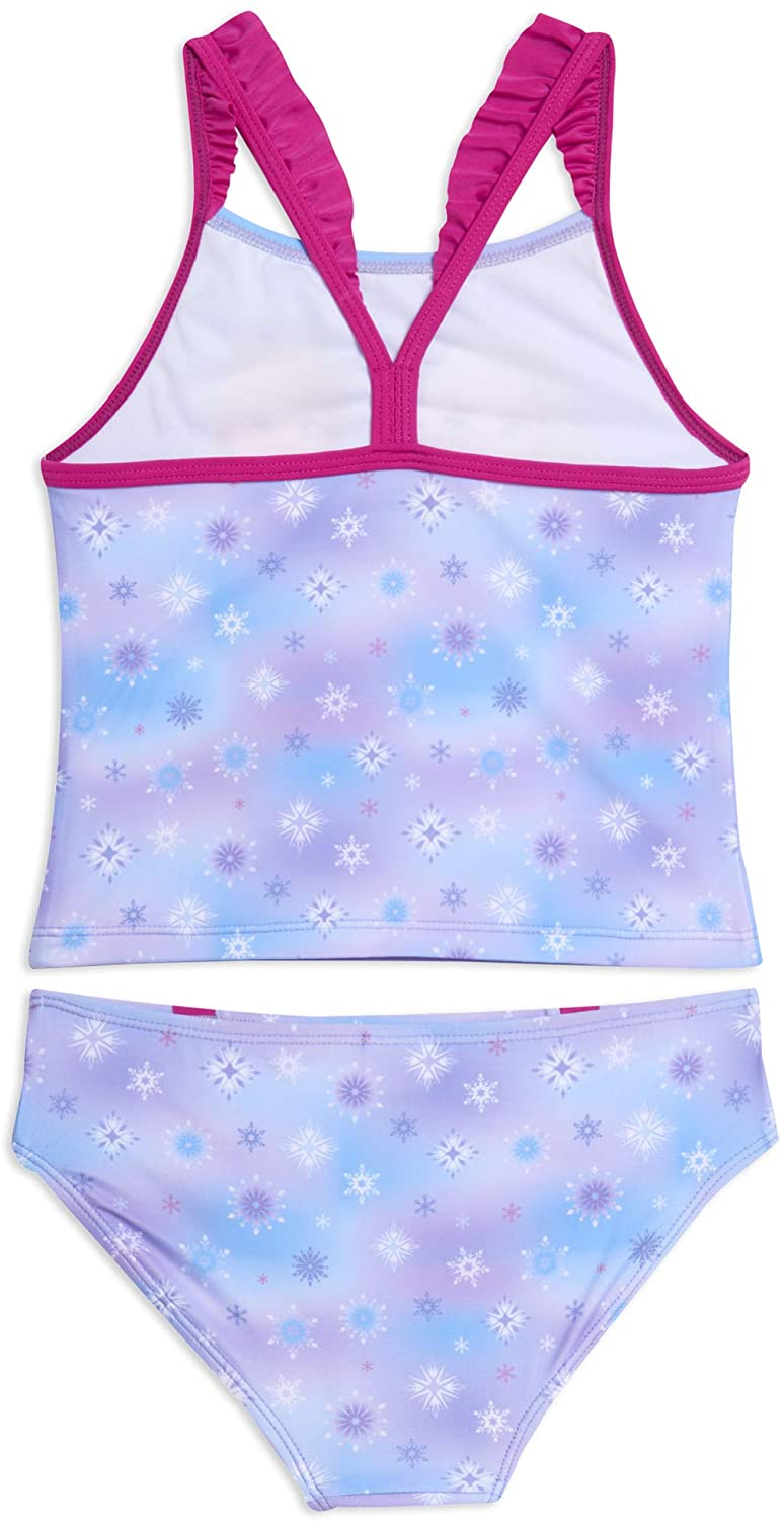 Frozen 2 Girls' Bathing Suit Two Piece Disney Princess Tankini Swimsuit Set, 4-6X, Blue
